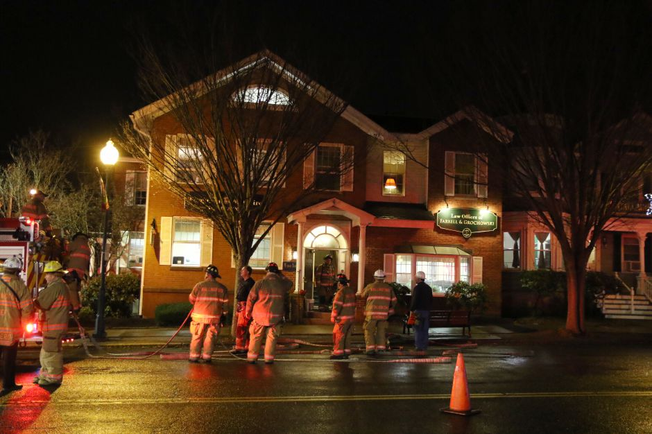 Fire was reported at 373-375 Center St. in Wallingford Tuesday evening. Firefighters arrived to find an active fire at the commercial building and quickly brought it under control. Aaron Flaum, Record-Journal.