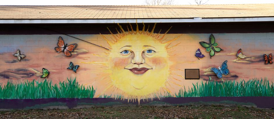 A mural is seen here  along the Farmington Canal Heritage Trail in Southington on Dec. 7, 2020. The mural is dedicated to the 26 Sandy Hook victims.