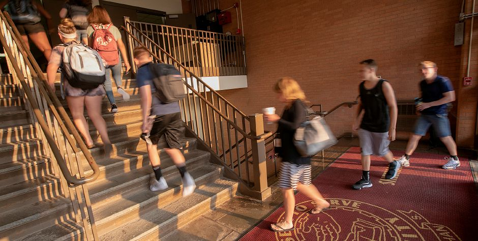 Students and staff arrive during the first day of school at Sheehan High School in Wallingford, Monday, August 27, 2018. Dave Zajac, Record-Journal