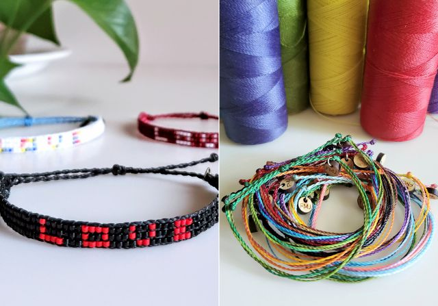 "This combination of photos provided by Jenny Florkowski shows samples of her beaded bracelets, left, and friendship bracelets for sale. Florkowski, a veteran at ""Wicked,"" gives away all proceeds from sales. She recently donated $900 to the NAACP Legal Defense Fund and Color of Change. (Jenny Florkowski via AP)"