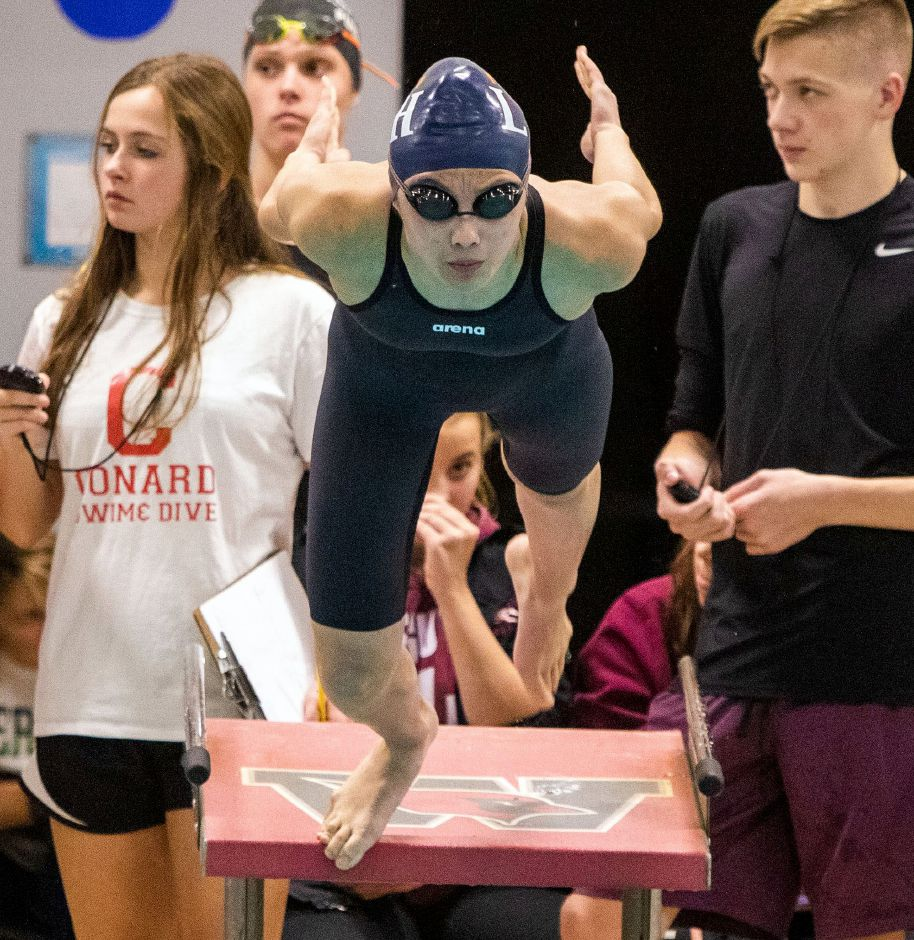 Lyman Hall's Caroline Krawec gets off the block in the 200 individual medley during the 2019 Class L state championship. Krawec was All-State in the breaststroke and All-SCC in the IM. Aaron Flaum, Record-Journal