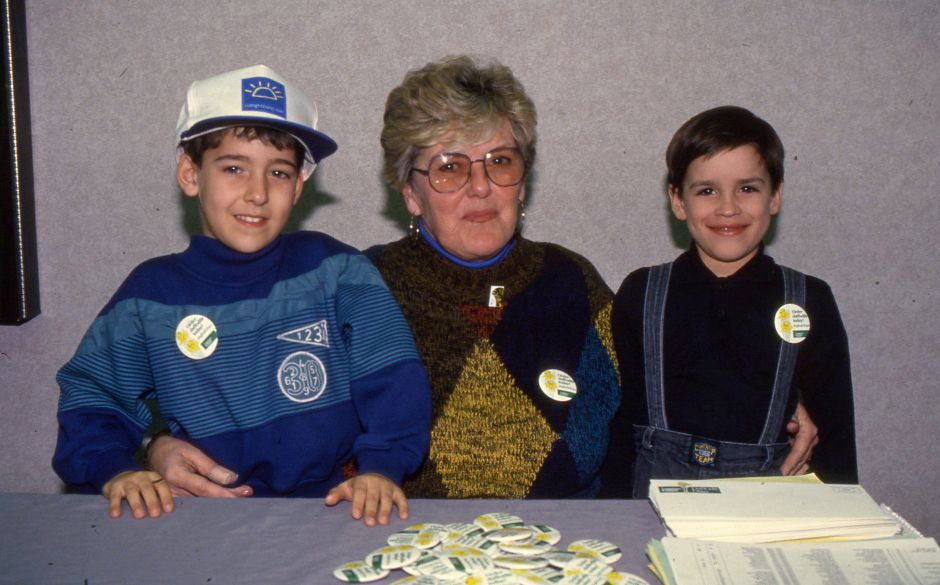 RJ file photo - Marge Coutermash sits with Evan Fusaro and Jordan Davila who became friends at the American Cancer Society