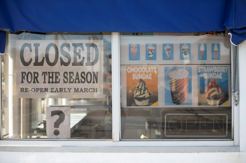 A sign in the window of Les' Dairy Bar, Wed., Feb. 19, 2020. Owner Debra DiGiandomenico is reopening the business after a sale agreement couldn