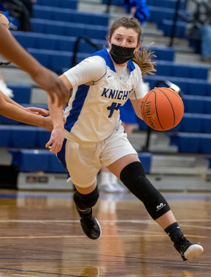 Southington point guard Livvy Pizzitola breaks to the basket against New Britain during Wednesday night's season opener at Southington High School. Pizzitola had 11 point in Southington's 67-34 victory. Aaron Flaum, Record-Journal
