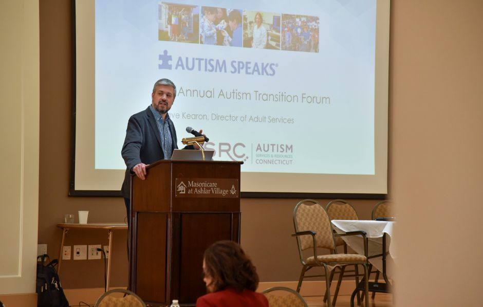 Director of Adult Services with Autism Speaks David Kearon gives a presentation at an Autism Speaks and Autism Services & Resources Connecticut forum on autism transitioning at Masonicare at Ashlar Village in Wallingford on Saturday, Feb. 8, 2020. | Bailey Wright, Record-Journal