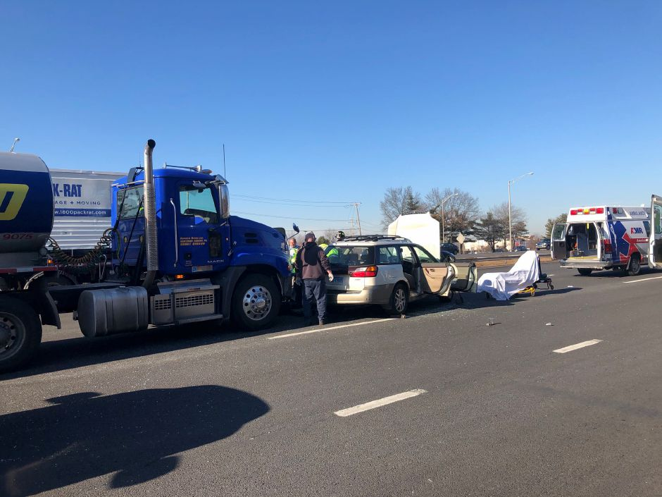 A New Haven woman was hospitalized with serious injuries after her vehicle was struck from behind on I-91 north Monday afternoon. State Police said the collision spun the woman