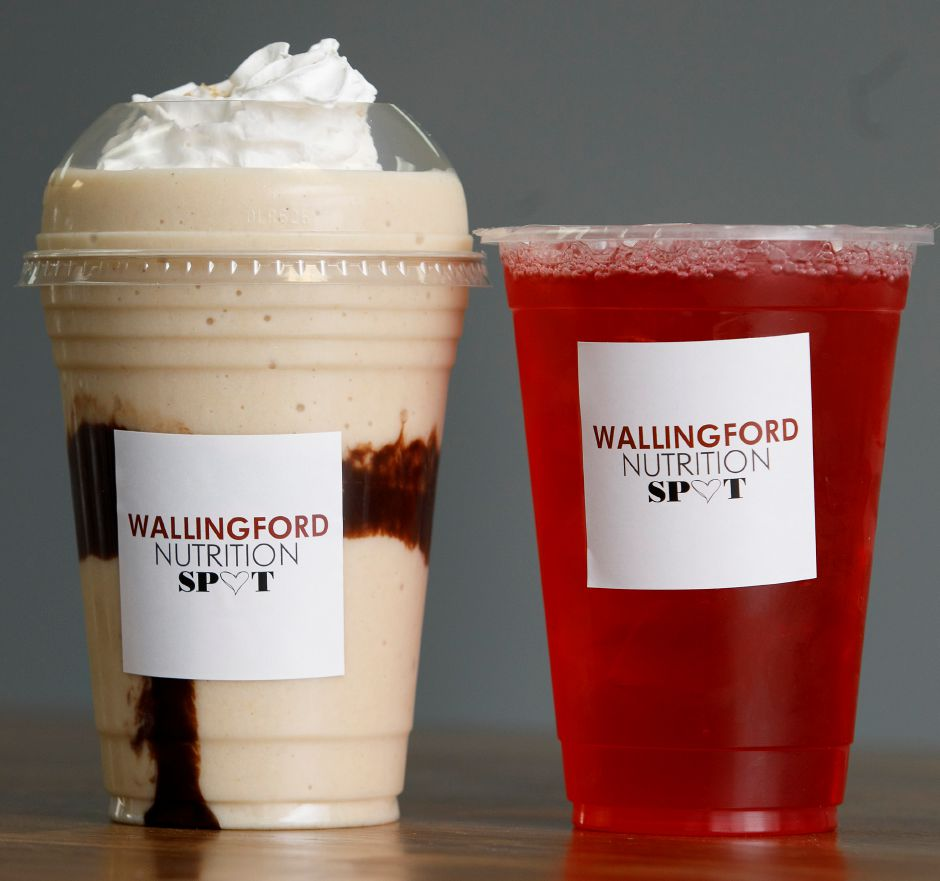 A Chunky Monkey protein shake and Strawberry Promegranate energy tea at Wallingford Nutrition Spot, a new business at 314 Main St., Yalesville, Fri., Jan. 22, 2021. Dave Zajac, Record-Journal