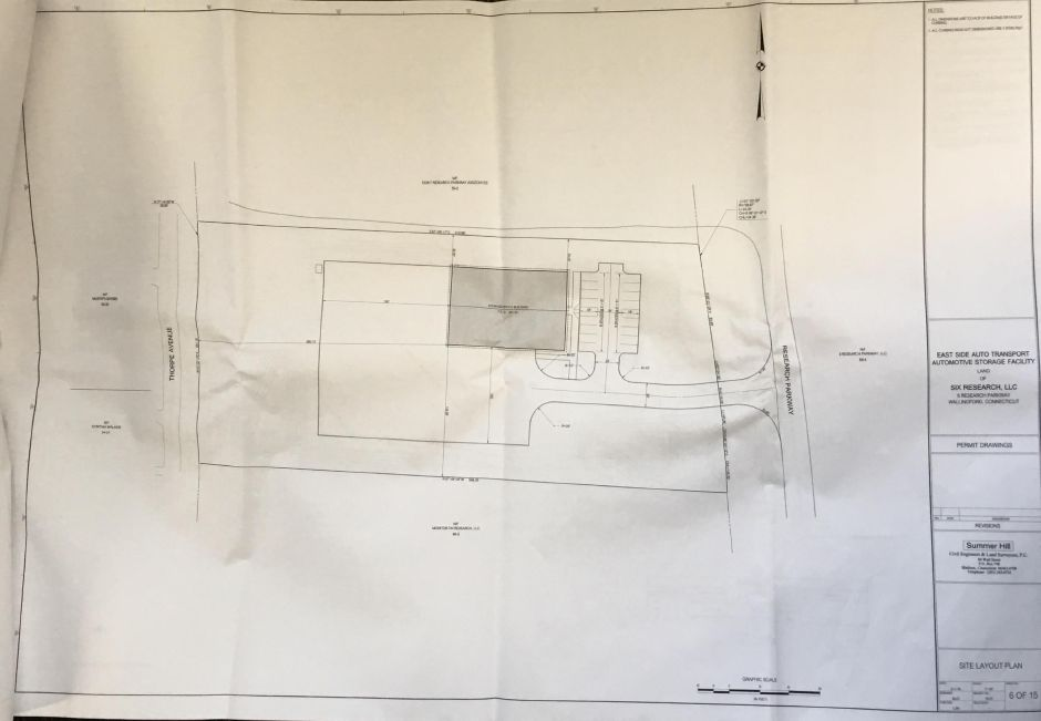 East Side Auto Transport submitted a site plan application to construct a 9,720 square-foot building on a 3-acre vacant property at 6 Research Parkway in Wallingford. | Courtesy of Wallingford Planning and Zoning Department