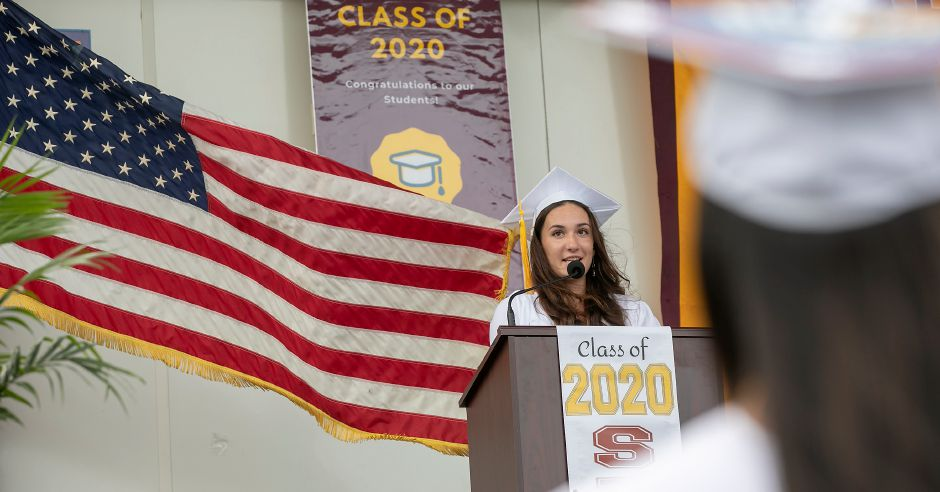 Grace Waldron, Sheehan class president,  speaks during graduation ceremonies.