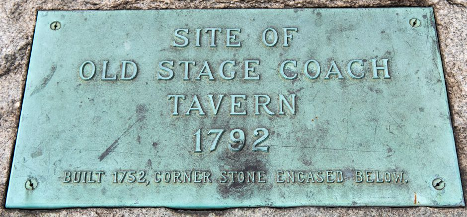 A monument marking the location of the Old Stagecoach Tavern built in 1752 at the corner of East Main and Broad Streets in Meriden, Friday, May 12, 2017. A Harwinton developer has filed site plans with the city to build a 7,000-square foot O'Reilly Auto Parts Store on the lot. | Dave Zajac, Record-Journal