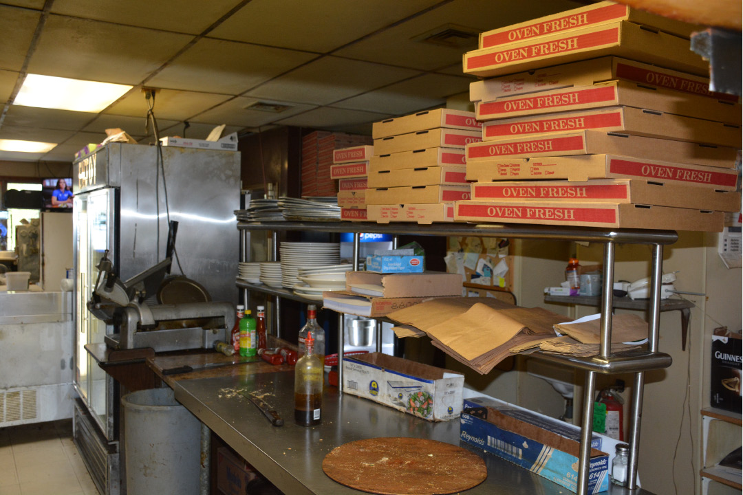 The pizza packaging section in kitchen at Cheshire Pizza, May 13, 2016.  | Ariana D