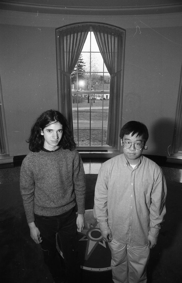 RJ file photo - Choate Rosemary Hall seniors Dan Torop and Bill Chen have advanced in the JETS-TEAMS competition, April 1989.