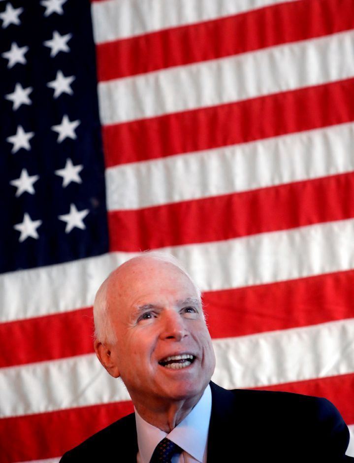 U.S. Sen. John McCain, R-Ariz., smiles after touring the Wren House Brewery, Tuesday, Nov. 1, 2016 in Phoenix. McCain is facing a re-election challenge from U.S. Rep. Anne Kirkpatrick, D-Ariz, in the November 8th general election. (AP Photo/Matt York)