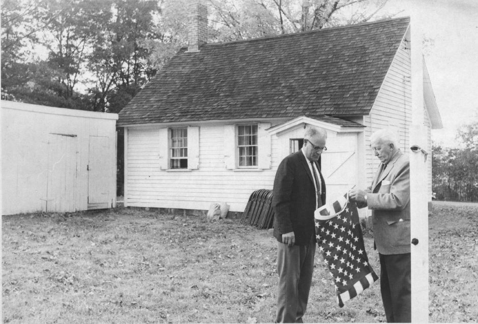 An undated photo of Marshall Tolles, left, and Harry Bock outside of the West Street School house in Southington.