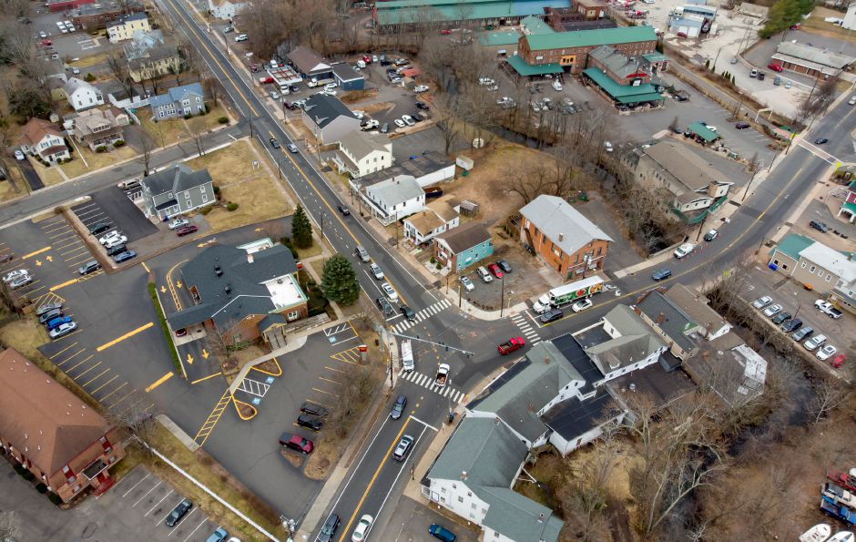 Vehicles cross through the intersection of Route 10 and West Main Street in downtown Plantsville March 3, 2020. | Richie Rathsack, Record-Journal