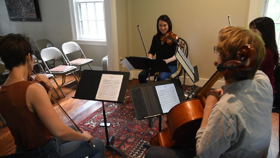 Musicians in residence practice together at Kalmia Garden Music and Arts in Durham on June 17, 2019. The farm and gardens offers an annual Farmhouse Concert Series, including performances this weekend. | Bailey Wright, Record-Journal