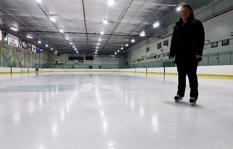 Sydney Hogan, a skating instructor, skates at Northford Ice Pavilion, 24 Firelite Place, Northford, Thursday, Jan. 3, 2019. | Ashley Kus, Record-Journal