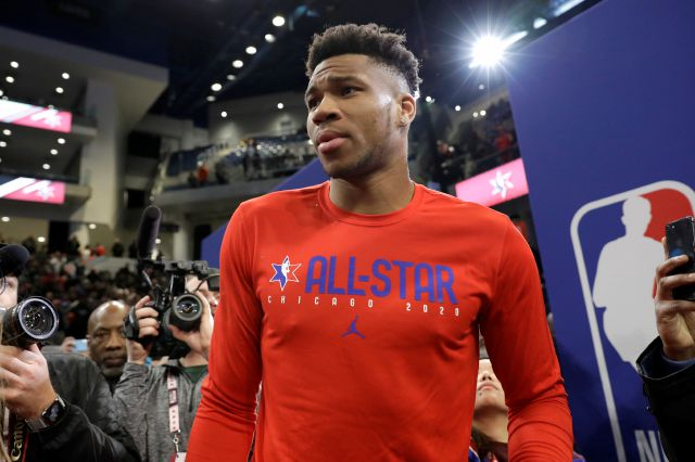 Giannis Antetokounmpo, of the Milwaukee Bucks, attends the NBA All-Star basketball game media day, Saturday, Feb. 15, 2020, in Chicago.(AP Photo/Nam Y. Huh)