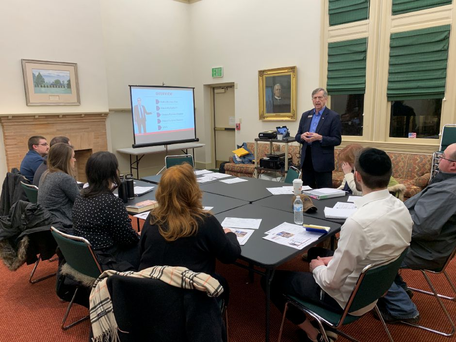 Jim Jackson of the Connecticut Small Business Development Center spoke to a group of hopeful entrepreneurs about the first steps they will need to take in order to start their business. Photo by Everett Bishop, Town Times