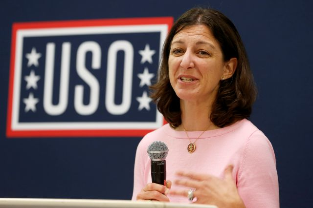 Rep. Elaine Luria, D-Va., speaks to participants in a USO Pathfinder program in Virginia Beach, Va., Friday, Oct. 4, 2019. Luria recently joined a group of other Congresswomen to call for the impeachment of President Trump. (AP Photo/Steve Helber)
