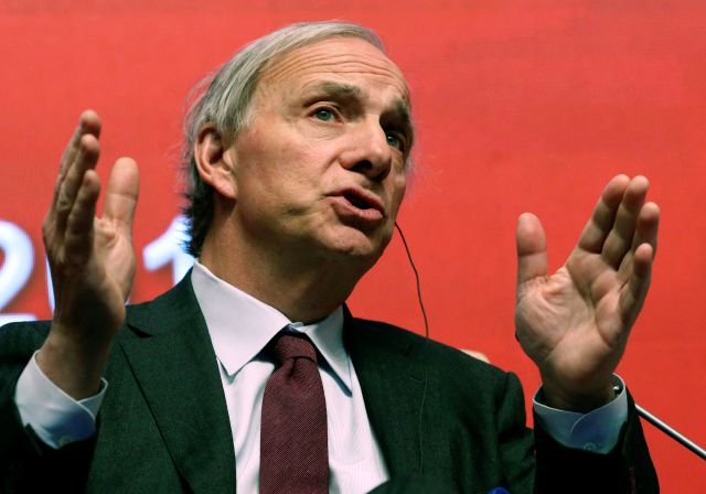 FILE - In this March 23, 2019 file photo, Bridgewater Associates Chairman Ray Dalio speaks during the Economic Summit held for the China Development Forum in Beijing, China. On Friday, April 5, Connecticut Gov. Ned Lamont announced that Dalio and his wife Barbara, of Greenwich, Conn., are donating 100 million to support public education and new businesses in some of Connecticut