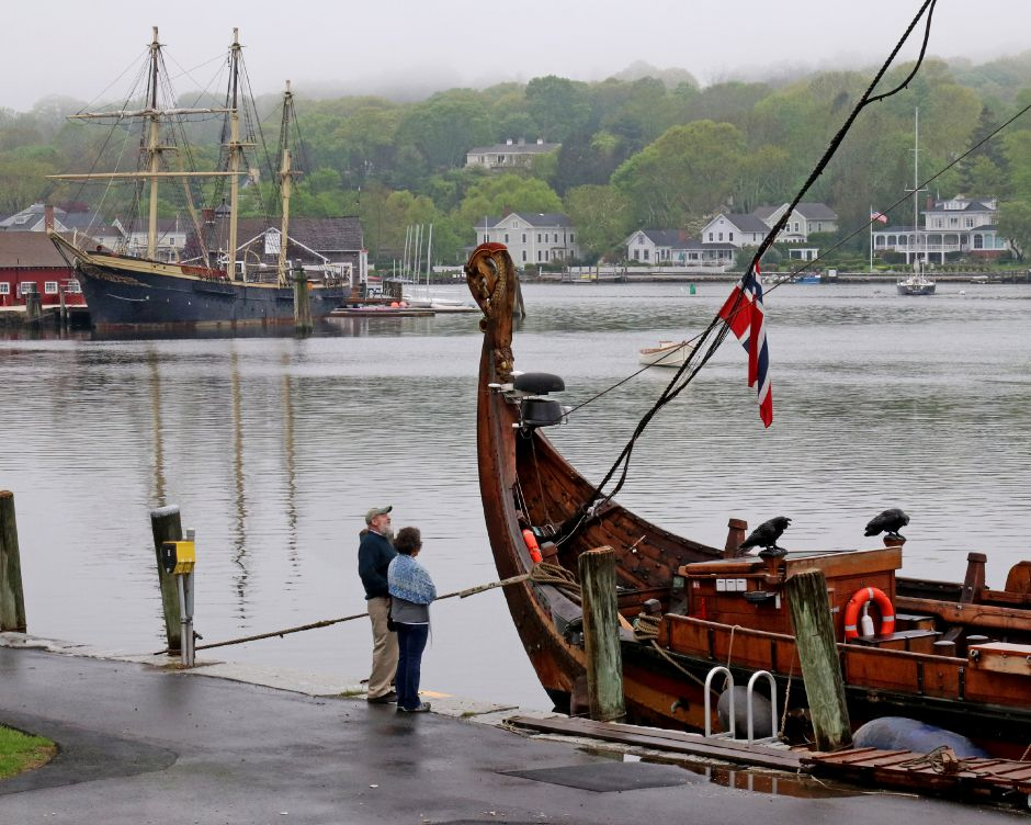 "Seaport visitors inspect the Draken Harald Hårfagre, a clinker-built Viking longship, which is a reconstruction of what the Norse Sagas refer to as a ""Great Ship, on Thursday, May 17, 2018. Harold Hanka, The Westerly Sun"