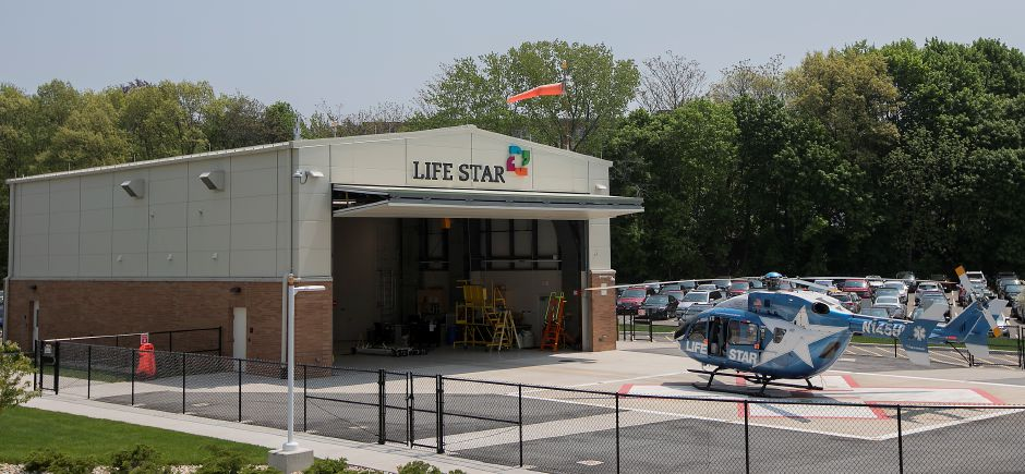 Life Star helicopter at MidState Medical Center in Meriden, Tuesday, May 15, 2018. Life Star maintains a permanent base behind the MidState Medical Center ED. Dave Zajac, Record-Journal