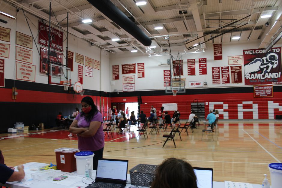 The Chesprocott Health District held a vaccine clinic for students and their parents at Cheshire High School on April 28. Mariah Melendez/Cheshire Herald -