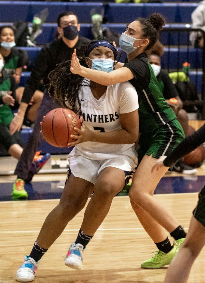 Wallica Bailey, seen here in action against Maloney's Haley Lespier, averaged 11 points a game this season for Platt and was named All-CCC for a second straight season. Aaron Flaum, Record-Journal