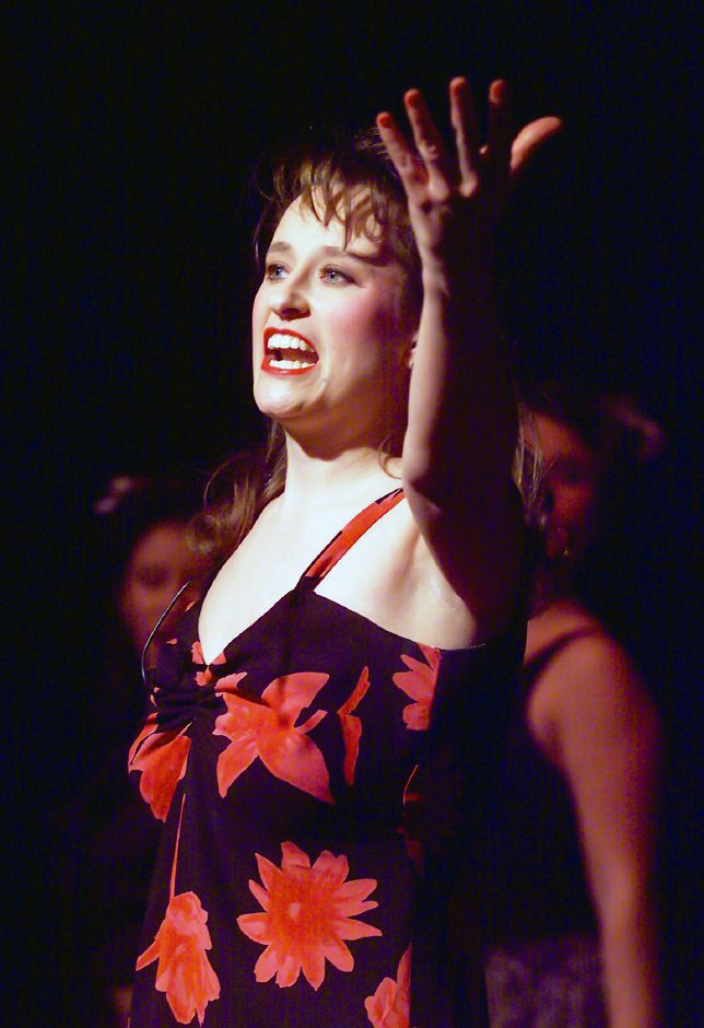 RJ file photo - Meriden teacher Jeanne Caillouette during rehearsal for Evita at the Connecticut Cabaret Theatre, March 1999.