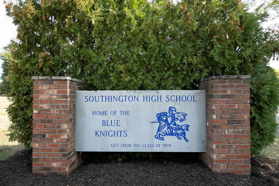 Southington High School, Mon., Sept. 21, 2020. Education officials aren't sure how long they'll close Southington High School for in-person learning as they perform contact tracing for a student who tested positive for COVID-19. Dave Zajac, Record-Journal