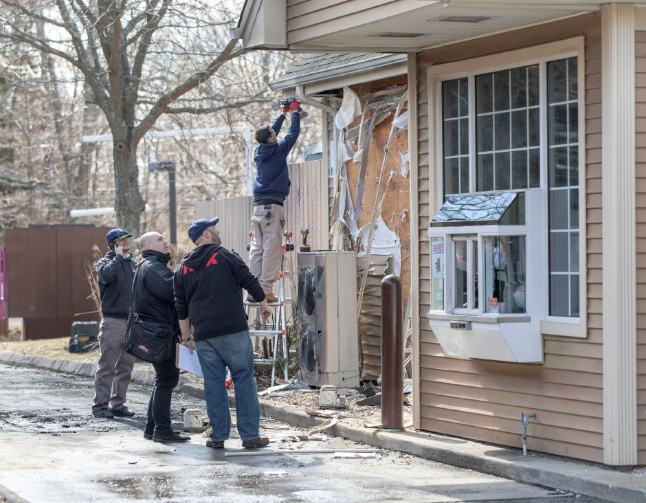 Repairs being made on March 18, 2019 to the Dunkin Doughnuts at 262 Meriden-Waterbury Turnpike in Southington was damaged by a fire.