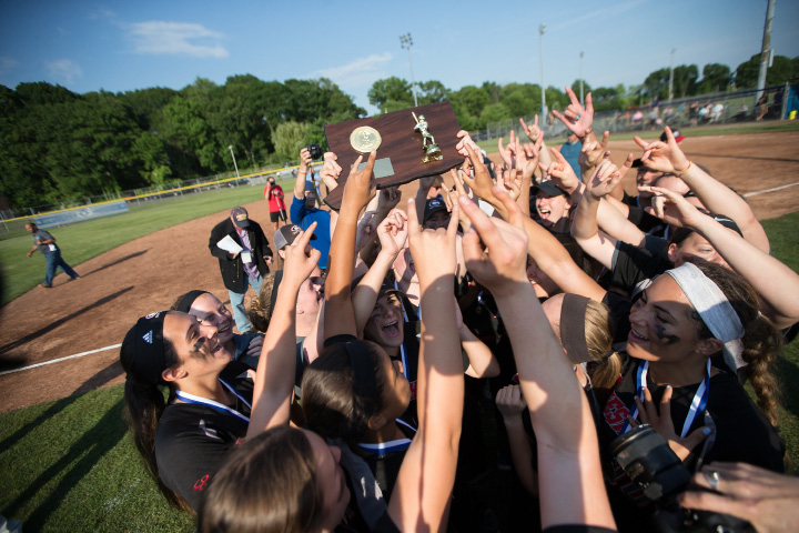 The Cheshire softball team won the 2016 Class LL state championship by beating Amity 5-0 in the final last June. The rivals renewed acquaintances Monday in Woodbridge, with the Rams scoring an 8-5 victory for their 35th straight win. | Justin Weekes / For the Record-Journal
