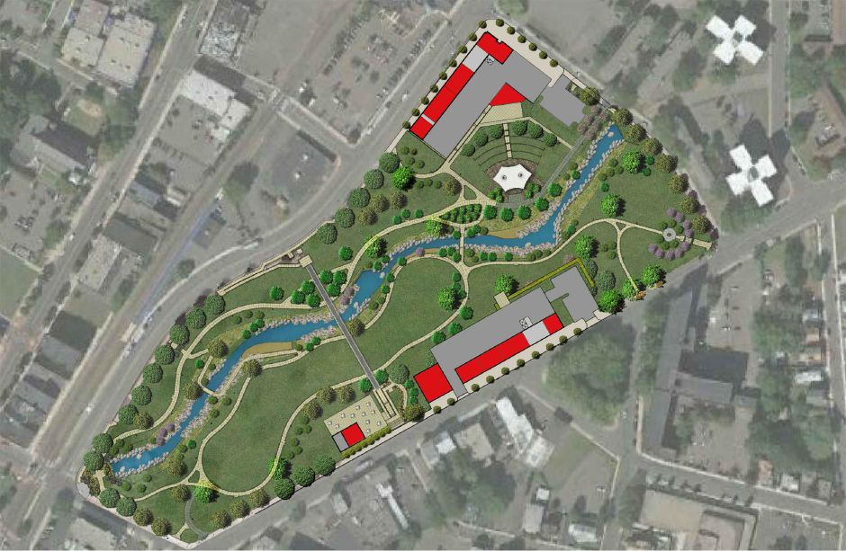 A site plan of the Meriden Green from Pennrose developers outlining the developments still to come on the site.