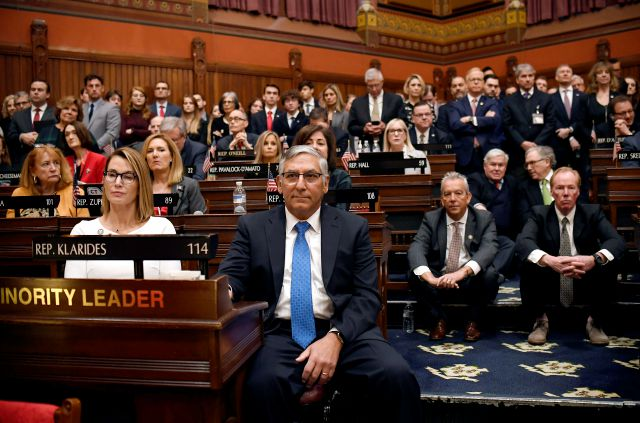 Senate Minority Leader Len Fasano (center) sits with House Minority Leader Themis Klarides, R-Derby, left, and other Republicans as they listen to Gov. Ned Lamont deliver the State of the State during opening session in February. Fasano is not seeking re-election. (AP Photo/Jessica Hill)