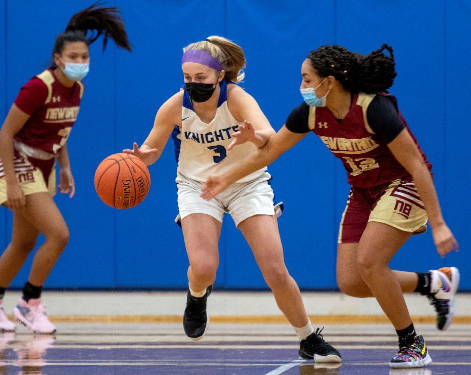 Allison Mikosz, seen here in action against New Britain, scored 14 points in Southington's 65-45 victory Saturday over previously undefeated Bristol Eastern. Aaron Flaum, Record-Journal