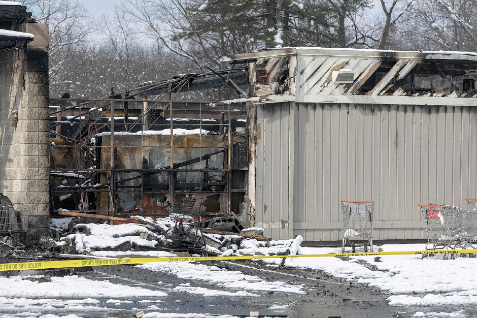 View of the east side of Tops Marketplace, 887 Meriden-Waterbury Turnpike in Southington, Mon., Mar. 4, 2019. The business was destroyed by fire Sunday night. Dave Zajac, Record-Journal