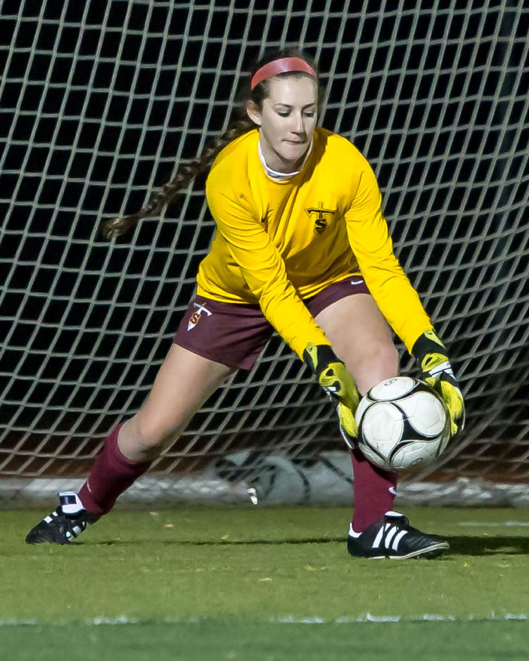 Sheehan goalie Elizabeth Arnold, who is on her way to Iona College, was known for her aggressive, take-charge style of play with the Titans. Record-Journal file photo