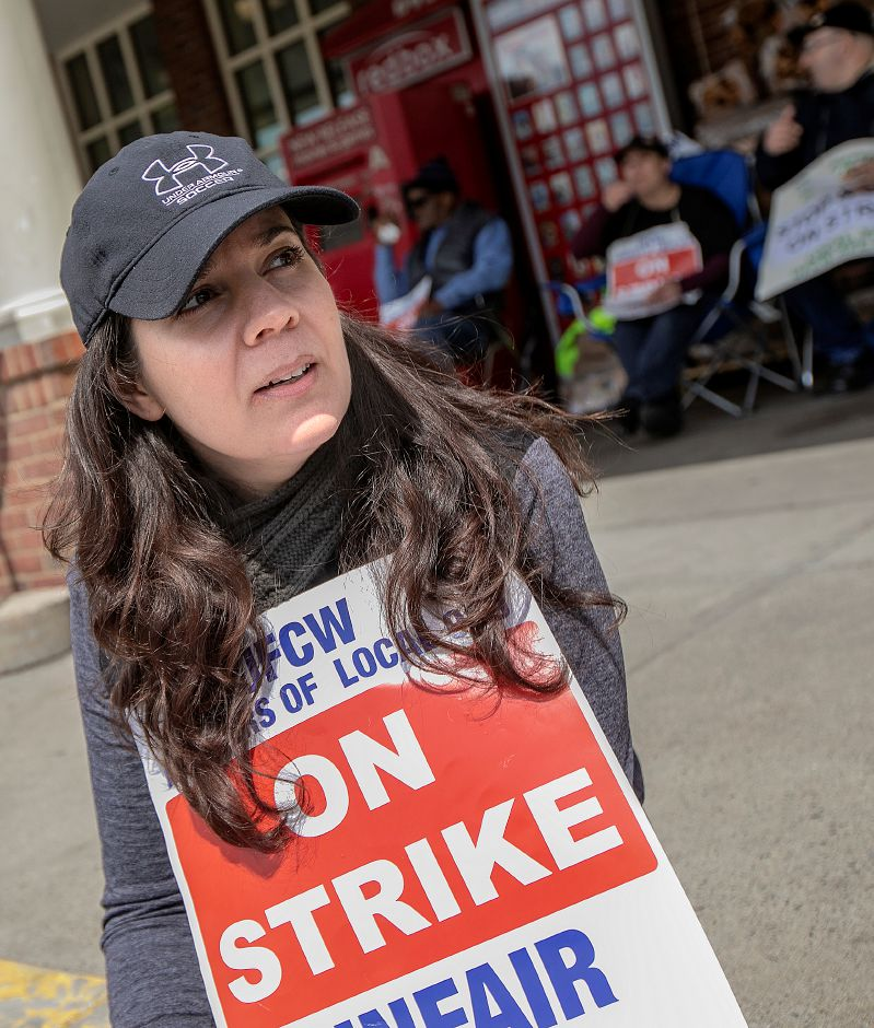 Kelly Moravsky of Southington, a floral manager and union steward for Local 919, speaks in front of Stop & Shop in Meriden, Mon., Apr. 15, 2019. Dave Zajac, Record-Journal