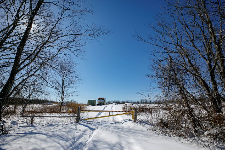 A gated parcel at 1121 Northrop Rd., Wallingford, Mon., Feb. 8, 2021. A local businessman plans to develop vacant land into industrial parks and warehouse-distribution operations along both sides of Northrop Road. Dave Zajac, Record-Journal