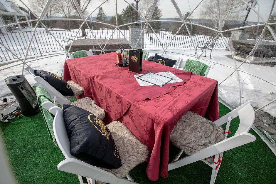 The dining table inside one of two igloos at the Back Nine Tavern at Southington Country Club, Thurs., Jan. 23, 2020. Dave Zajac, Record-Journal