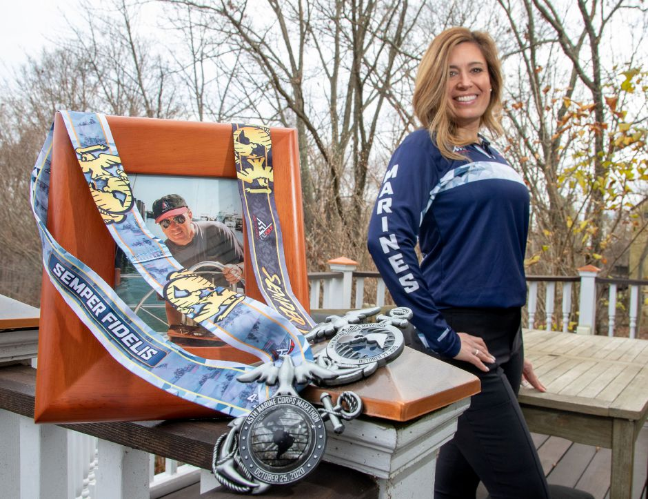 Loryn Strange Watkinson of Cheshire ran this year's Marine Corps Marathon virtually in honor of her late father, Michael D. Strange, who was a Marine. Watkinson operates LivingProof Wellness, LLC. Aaron Flaum, Record-Journal