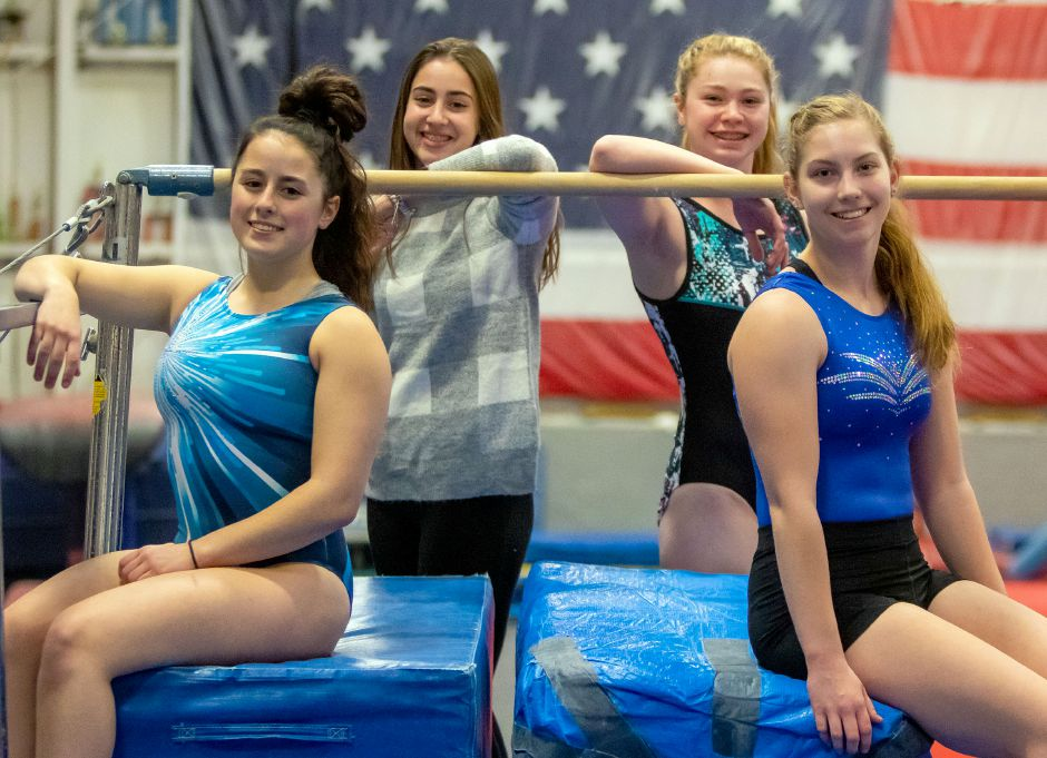 Among the girls returning from Southington's 2020 Class L and State Open gymnastics team are, clockwise from bottom left, Lizy Beaulieu, Natalie Reeves, Rylee LeClair and Kaylin Leifert. Aaron Flaum, Record-Journal