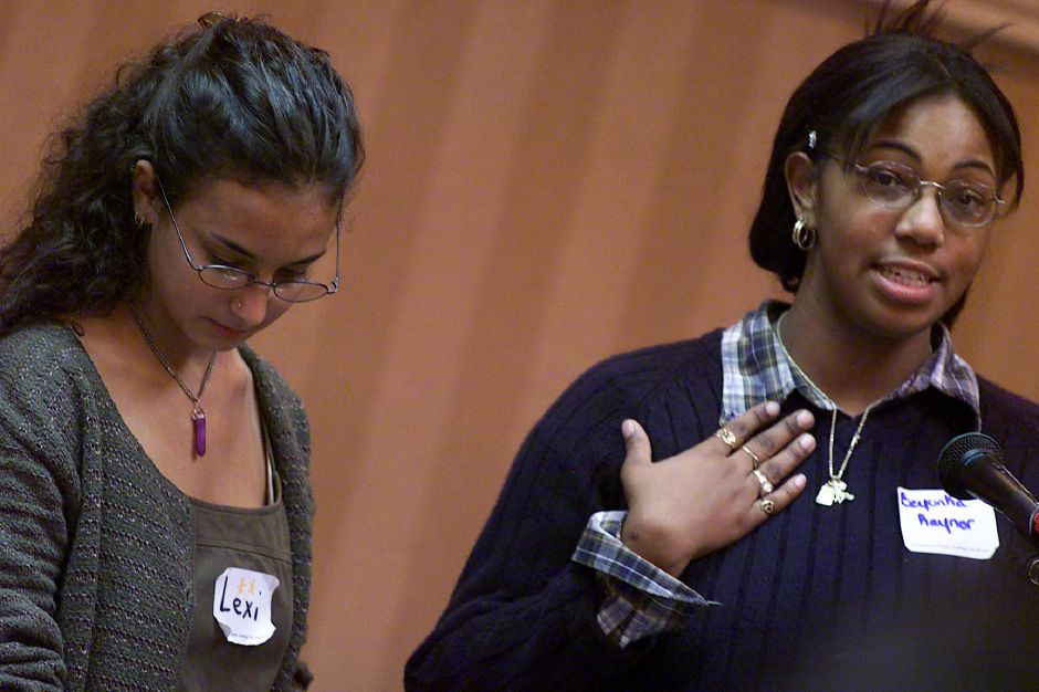 Beyonka Raynor (right),17, a senior from Cooperative Arts and Humanities Magnet School in New Haven and Alexis Weidelman,16 a Simbury High School junior were among the speakers at the race relations forum at the Ramada Inn on Thursday, Oct. 28, 1999.