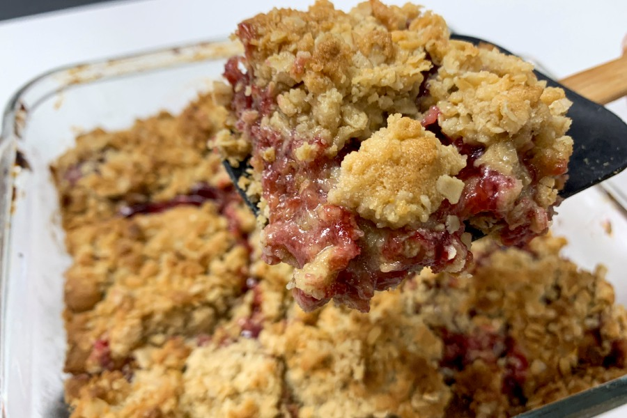 Finished raspberry bars, baked at the Record-Journal office on Tuesday, Dec. 17, 2019. The recipe is a family one, passed down to Meriden resident Cyndi Despot Wium.| Bailey Wright, Record-Journal