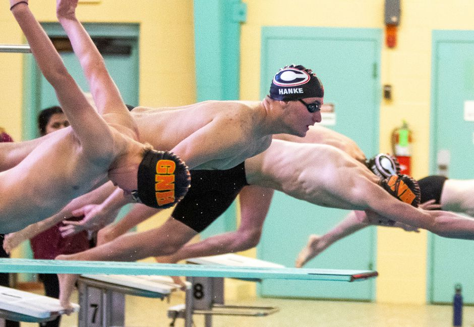 Sam Hanke and the Cheshire boys swim team capped off a 10-3 dual-meet season with a 101-77 victory over Shelton at Cheshire Community Pool on Tuesday. | Aaron Flaum, Record-Journal