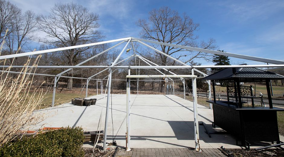 A seasonal tent structure for events and outings at Hunter Golf Club in Meriden, Tues., Apr. 2, 2019. Meriden officials are considering adding a banquet hall to the municipal golf course. Dave Zajac, Record-Journal
