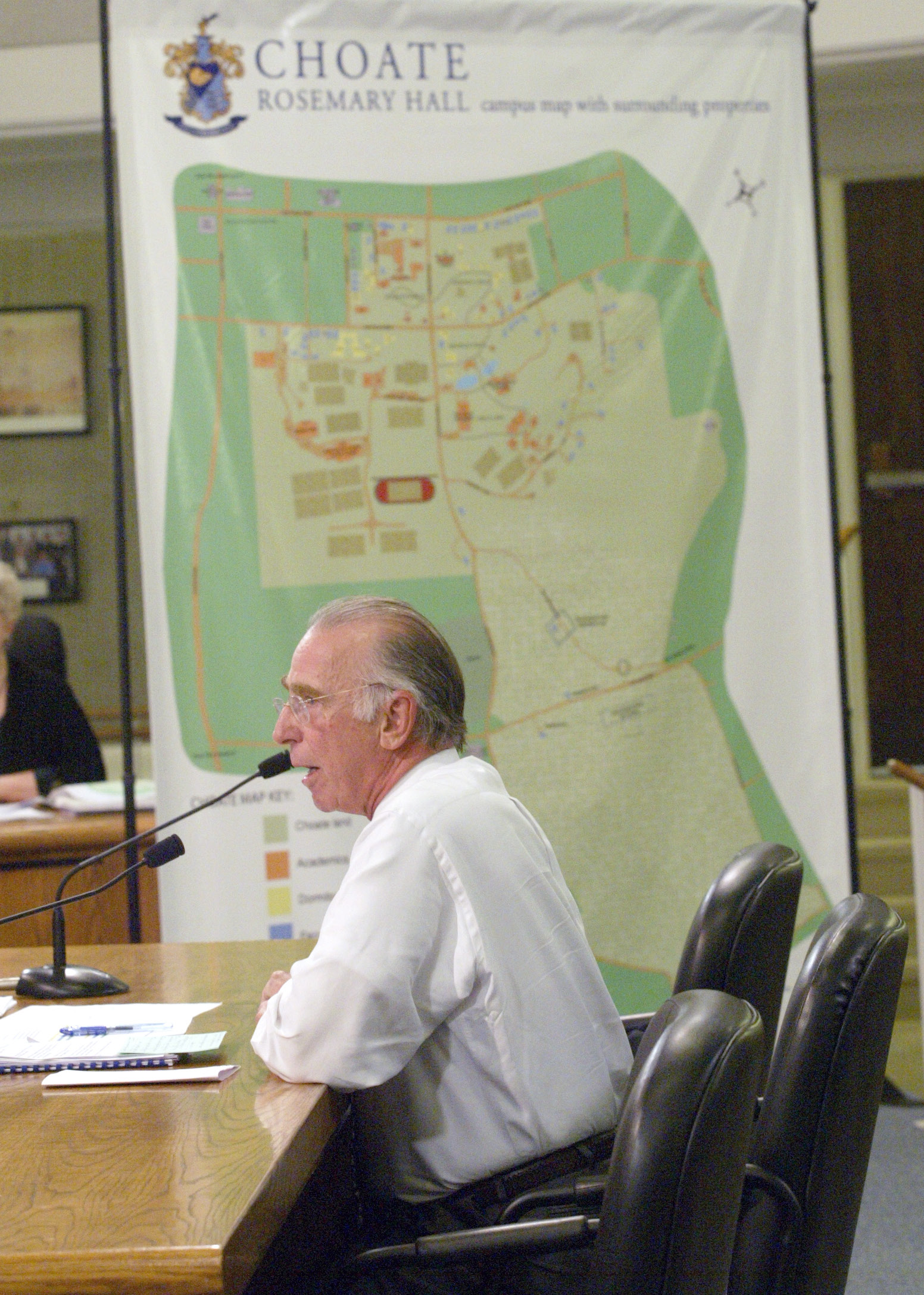 File photo -  June 23, 2009 - Choate Rosemary Hall Headmaster Edward Shanahan gives a presentation to the Wlfd town council at Wallingford Town Hall about Choate acquiring a portion of Old Durham Road.