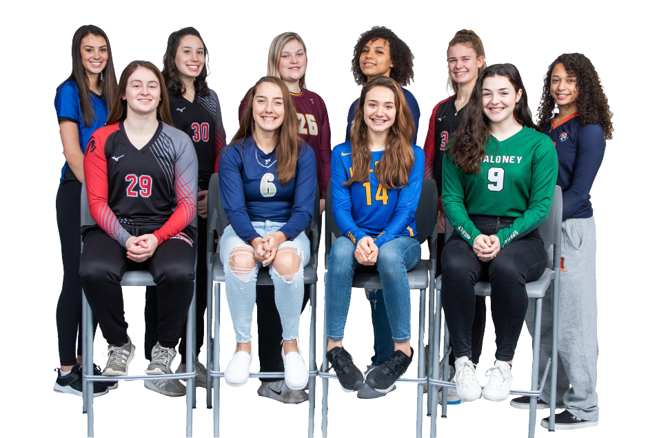 Introducing the 2019 All-Record-Journal Girls Volleyball Team. The girls standing, left to right, are Rachel Possidento of Southington, Lindsey Abramson of Cheshire, Caitlyn Hunt of Sheehan, Aaliyah Burnley of Platt, Emma Watkinson of Cheshire and Mackenzie Grady of Lyman Hall. The girls seated in front, left to right, are Ari Perlini of Cheshire, Caitlyn Hart of Platt, Chloe LaBissonierre of Wilcox Tech and Brooke Lathe of Maloney.  Aaron Flaum, Record-Journal
