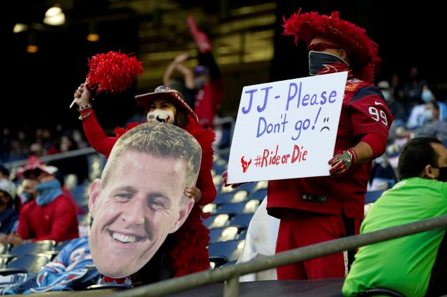 FILE - Houston Texans fans show their support for J.J. Watt (99) during the first half of an NFL football game against the Tennessee Titans in Houston, in this Sunday, Jan. 3, 2021, file photo. It